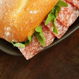 Sandwich with salami Royalty Free Stock Photo