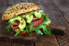 Sandwich with salami and avocado Royalty Free Stock Photography