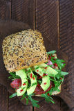 Sandwich with salami and avocado Royalty Free Stock Images