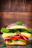 Sandwich with salami and cheese Royalty Free Stock Photo