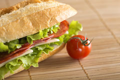 Sandwich with salami, cheese and lettuce. Closeup of a fresh sandwich with salami, cheese and lettuce stock image
