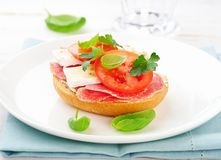 Sandwich with salami, cream cheese, tomatoes, camembert, fresh parsley and basil served on a plate. Home made food royalty free stock images