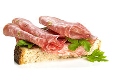 Sandwich with salami Royalty Free Stock Photos
