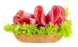 Sandwich with salami sausage on white background Royalty Free Stock Photos
