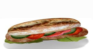 Sandwich with salami. Sandwich stuffed with salami, lettuce, cucumbers and tomato on white background, 3d Rendering stock illustration