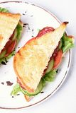 Sandwich, top view. Sandwich with salami, tomatoes, cucumber and lettuce. Top view, close up Stock Photos