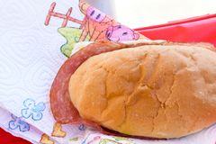 Sandwich with salami royalty free stock image
