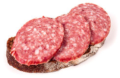 Sandwich with salami on a white background.  stock images