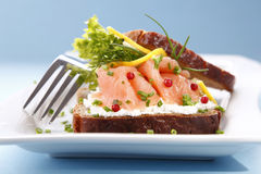 Sandwich with salmon stock photography