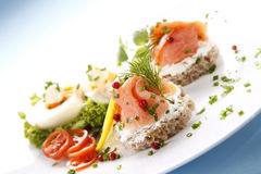 Sandwich with salmon stock image