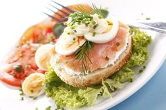 Sandwich with salmon Stock Photos