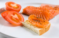 Sandwich with salmon. Royalty Free Stock Images