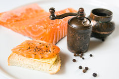 Sandwich with salmon. Stock Photo