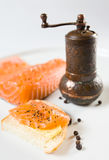 Sandwich with salmon. Royalty Free Stock Photo