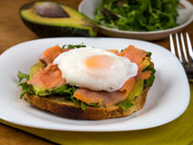 Sandwich. Salmon, avocado and egg sandwich, healthy eating stock photos