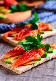 Sandwich with salmon and avocado Royalty Free Stock Photography