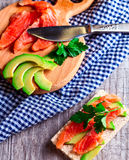 Sandwich with salmon and avocado Stock Photography