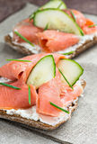 Sandwich with salmon for breakfast Stock Image