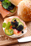 Sandwich with salmon Stock Images