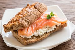 Sandwich with salmon and cheese Stock Photos