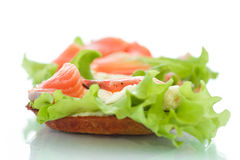 Sandwich with salmon and cheese Stock Images