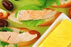 Sandwich with salmon chunks Stock Image