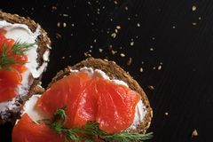 Sandwich with salmon and cream cheese. On a piece of rye multi-grain bread. Royalty Free Stock Photos