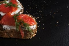 Sandwich with salmon and cream cheese. On a piece of rye multi-grain bread. Royalty Free Stock Photography