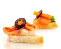 Sandwich with salmon, cream and olive Stock Photography