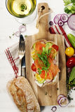 Sandwich with salmon, cucumber, cream cheese, dill and tomatoe Royalty Free Stock Images