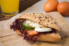 Sandwich with salmon and egg for breakfast Royalty Free Stock Photo