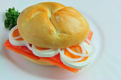 Sandwich with Salmon, Eggs, Onions and Parsley Stock Photos