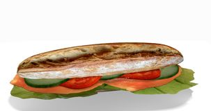 Sandwich with Salmon ham. Sandwich stuffed with Salmon ham, lettuce, cucumbers and tomato on white background, 3d Rendering stock illustration