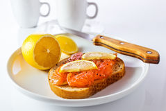 Sandwich with salmon and lemon Stock Image