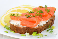 Sandwich with salmon and lemon slices Royalty Free Stock Images