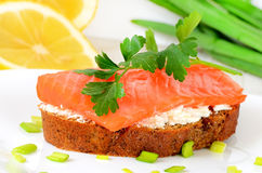 Sandwich with salmon and parsley Royalty Free Stock Image