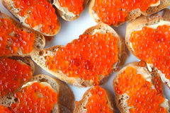 Sandwich with salmon roe Royalty Free Stock Photos