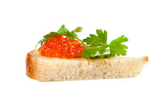 Sandwich with salmon roe Royalty Free Stock Image