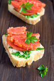 Sandwich with salmon Royalty Free Stock Images