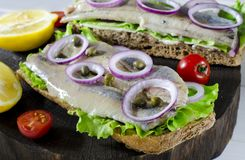 Sandwich with salted herring, butter and red onion on old rustic cutting board. Selective focus royalty free stock photos