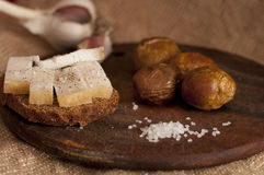 Sandwich with salted lard and baked potatoes Stock Images