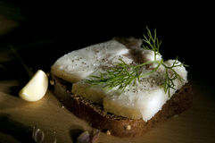 Sandwich with salted lard Stock Photography
