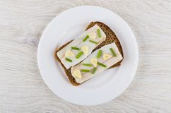 Sandwich with salted lard, garlic, green onion in white plate. On wooden table. Top view Stock Photography
