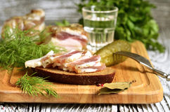 Sandwich with salted lard and glass of vodka Royalty Free Stock Photography