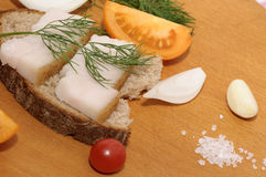 Sandwich with salted lard, onion and tomatoes Stock Image