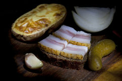 Sandwich with salted lard Royalty Free Stock Images