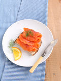 Sandwich with salted salmon Stock Images