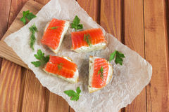 Sandwich with salted salmon and butter and spices Royalty Free Stock Photo