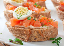 Sandwich with salted salmon and cream cheese. Stock Photos