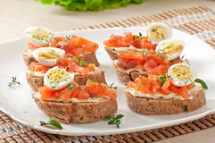 Sandwich with salted salmon and cream cheese. Stock Image